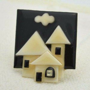Vintage HOUSE PINS BY LUCINDA Mixed Materials Pin